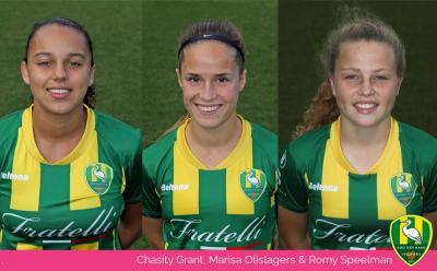 Romy Speelman, Marisa Olislagers en Chasity Grant in de voorlopige selectie van het Nederlands elftal voor vrouwen onder de 19 jaar